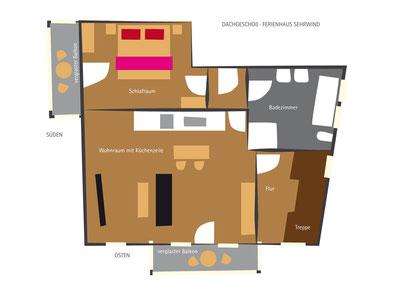Ferienhaus in Oberstdorf, Ferienhaus Sehrwind – Grundriss Dachgeschoß