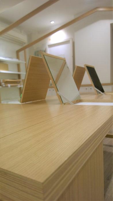 Atelier B, atelier b , ébéniste designer la Bernerie en retz créateur concepteur mobilier meuble agencement table chêne miroir contreplaqué atelier b