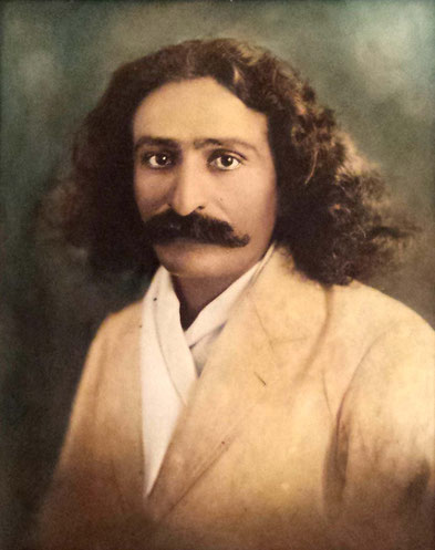 This photograph of Meher Baba was coloured by-hand by Hermes. Private collection.