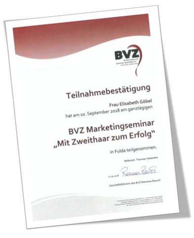 """Teilnahmebestätigung BVZ Marketingseminar """"Mit Zweithaar zum Erfolg"""""""