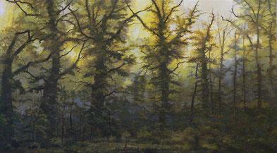 """Martin Guido Becker, """"Waldstück, 2009, Öl/Lwd, 80/140 cm"""