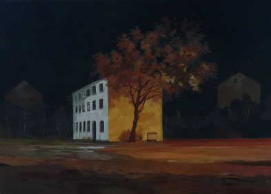 "Martin Guido Becker ""Rotes Haus"", 2015, Öl/Lwd, 50/70 cm"