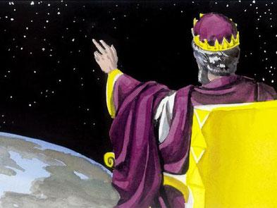 Les chrétiens composant la grande foule peuvent donc très bien se trouver devant le trône de Dieu et devant l'Agneau tout en se trouvant sur la terre et en se soumettant à l'autorité du Roi messianique.