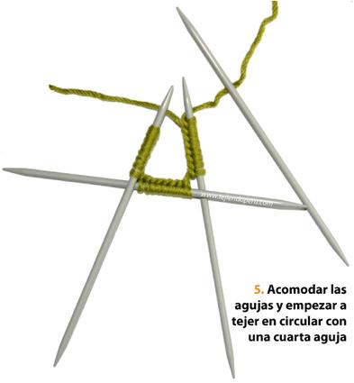 Cómo tejer con 4 o 5 agujas de dos puntas