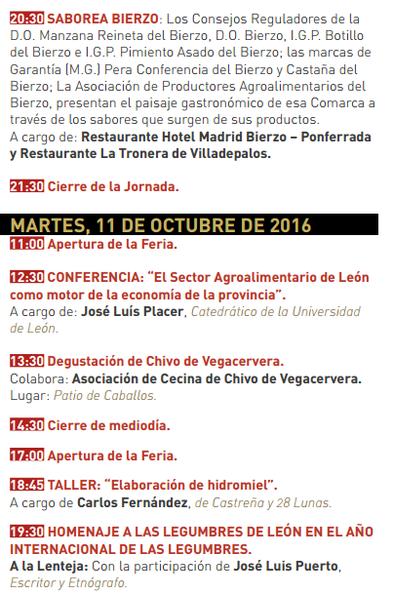 Feria de los Productos de León Programa