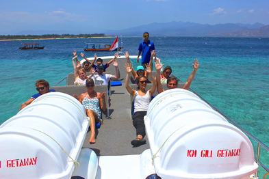 Fun cruise at the sun deck of gili gateway fastboat