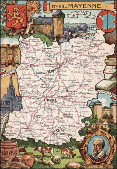 Recto d'une carte postale timbrée envoyée depuis la Mayenne