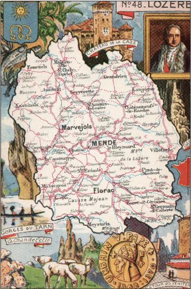 Recto d'une carte postale timbrée envoyée depuis la Lozère