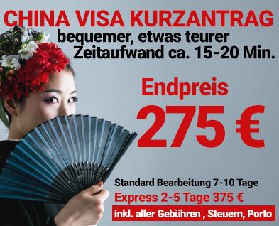 China Visum Bevorzugt zum günstigen Endpreis 175 EURO