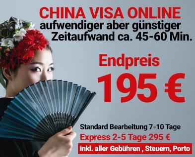 Das günstigste China Visa im Internet Standard 155 Euro