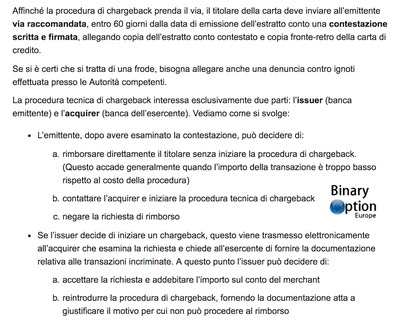 procedura chargeback carta di credito