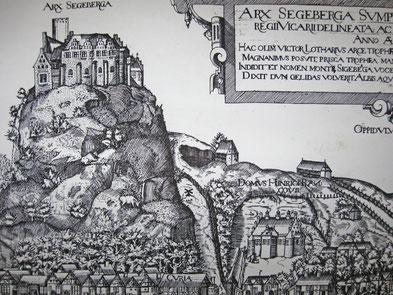 Dahmlossche Kuhle & Kleiner Segeberger See im ARX SEGEBERGA von Johann Greve 1585 (Reproduktion, zu sehen im Heimatmuseum `Alt Segeberger Bürgerhaus`)