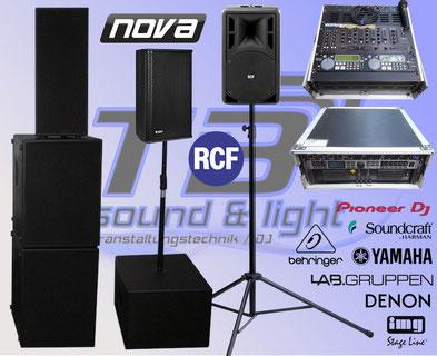 Musikanlage, PA Anlage mieten in Bonn und dem Rheinland. Namhafte Hersteller: RCF, Nova, Achat Pro, Denon, Pioneer, Yamaha