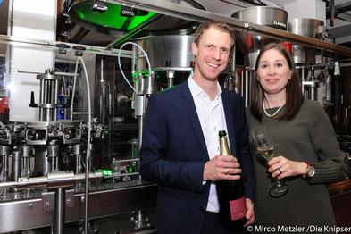 Die Weinguts-Besitzer und Gastgeber des Abends: Isabel Strauch-Weißbach und Tim Weißbach.