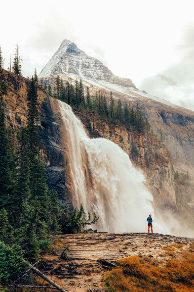 Emperor Falls. Guide to Berg Lake Trail in Mount Robson Provincial Park, Canada
