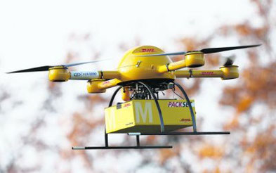 Delivery drones, pictured here is a DHL unmanned aerial vehicle, to remain niche in growing market.