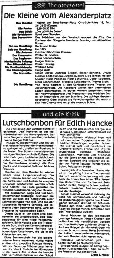 BZ Kritik 1983