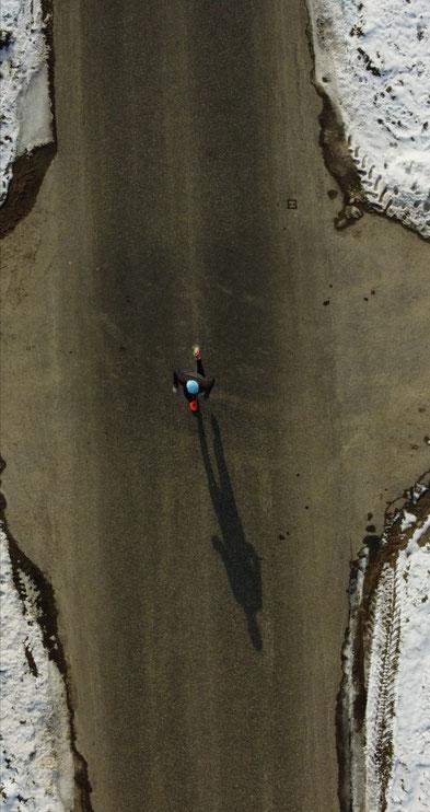 Drohnenaufnahme von einem Tempolauf am 13. Februar (Foto: Sandro Keller)