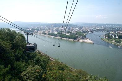 Blick von der Festung Ehrenbreitstein auf das Deutsche Eck