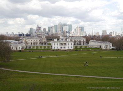 Blick auf die Londoner Docklands vom Observatorium Greenwich