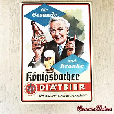 Königsbacher Diätbier -Für Gesunde und Kranke - Pappschild  Koblenz um 1950  30 x 42 cm