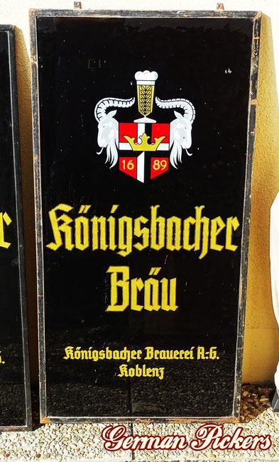 Königsbacher Pils - Glasschild  Deutschland um 1950  50 x 120 cm