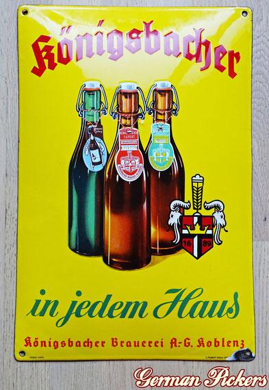 Königsbacher Brauerei Koblenz - in jedem Haus - Emailschild  Deutschland um 1930  C. Robert Dold Offenburg, Ferro Email, 33 x 50 cm