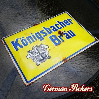 Königsbacher Bräu - Emailschild  Deutschland um 1920  Boos & Hahn Ortenberg-Baden, 33 x 50 cm