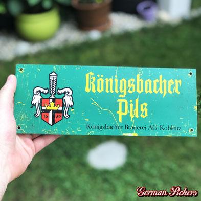 Königsbacher Brauerei Koblenz Blechschild  Türschild  28 x 10 cm  um 1960 -  Königsbacher Brewery tin sign  Germany 1960`s