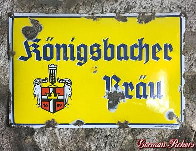 Königsbacher Bräu - Emailschild  Deutschland um 1930  Boos & Hahn Ortenberg-Baden, 33 x 50 cm