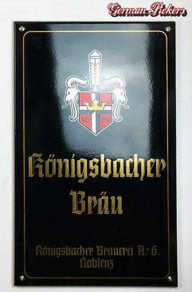 Königsbacher Bräu - Emailschild Deutschland um 1950, 50 x 80 cm Hersteller C. ROBERT DOLD Offenburg
