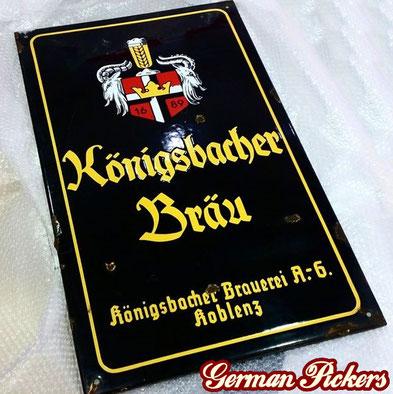 Königsbacher Bräu Koblenz  - Emailschild  Deutschland um 1930  C. Robert Dold Offenburg, 50 x 70 cm