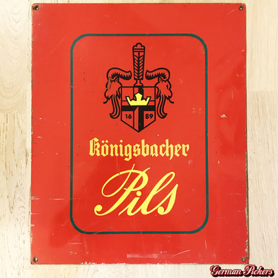 Königsbacher Brauerei Koblenz Pils  seltene rote Version  Blechschild um 1970