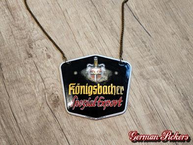 Königsbacher Brauerei Türschild / Zapfhahnschild  Emailschild  Deutschland 1930  C. Robert Dold - ca 12 cm  - Königsbacher Brewery - porcelain door sign  Germany 1930`s