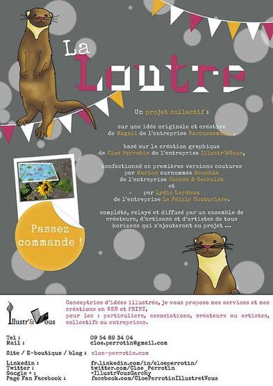 """Affiche de participation de Cloé Perrotin de l'entreprise Illustr'&vous au projet collectif de créateurs et d'artistes """"Moka la loutre"""""""