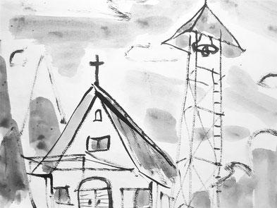 教会の週報の表紙にも使う絵・満さんの紙芝居『一つぶのたね』より