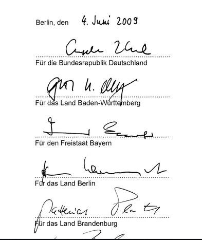 Unterschriften unter der Exini-Verwaltungsvereinbarung – also der alten von 2009