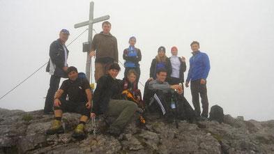 Gipfelstürmer: Klaus, Armin, Tobi, Petra, Tina, Eva, Lisa, Jona, Viki, Alex