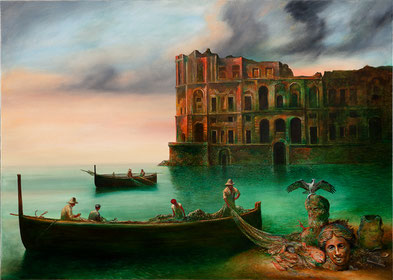 painting, Naples, fisherman, boat, antique sculptures, mobile phone, arm clock, mediterranian, bay