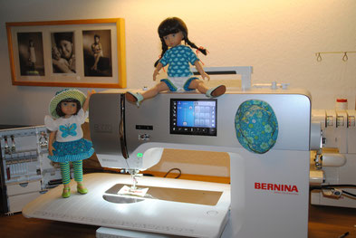 The girls testing the new sewing machine