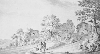 Ansicht östliches Tor von Osten, Kupferstich von Josef Pfaundler,  19. Jhd.