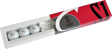 Golf Verpackung, Gofball Verpackung mit Holztees, Schiebe Verpackung Golfbälle, Golfball Schiebe Verpackung, 2er Golfball Schiebeverpackung, 3er Schiebeverpackung