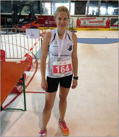 Laufen macht glücklich! Franziska nach einer Laufveranstaltung.