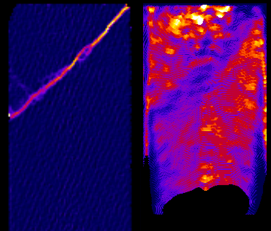 3D observation of a deformed porous rock sample saturated with water. The shear band is observed on the left by X-ray tomography, and the speed of the water front is monitored by neutron imaging (on the right)