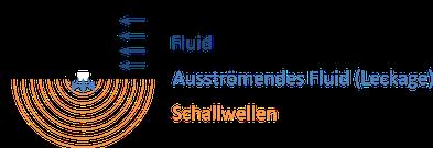 Rohrleitung mit ausströmendem Fluid, großräumige Ausbreitung des Ultraschalls