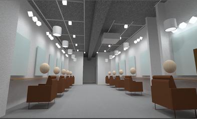 美容室の照明プランを3次元CGパースで明るさ感も表現。