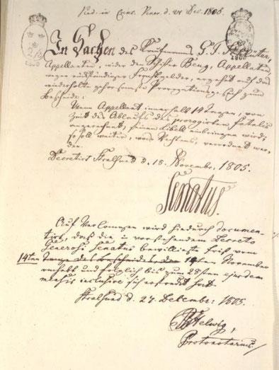 Urteil des Kammergerichtes Stralsund: Schiffer E.F.Beug gegen den Kaufmann Schlüter wegen ausstehender Frachtgelder, v. 27.Dez.1805 (Quelle: Stadtarchiv Stralsund)