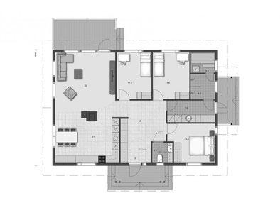 EG- Grundriss - Entwurfsplanung - Grundrissplanung - Blockhaus planen - Holzhaus bauen - Barrierefreies Bungalow - Einfamilienhaus mit Sauna - Blockhausbauer - Hausplaner - Ausbauhaus