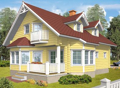 Im Blockhaus wohnen mit Flair - Wohnblockhäuser - schlüsselfertig - Blockhaus mit zwei Gauben und Erker