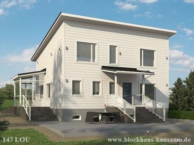 Stadtvilla Frankfurt - Eigenheim in Blockbauweise - Blockhaus mit Pultdach als ökologisches Wohnhaus - Hausbau - Blockhaus kaufen und planen - Kataloghaus